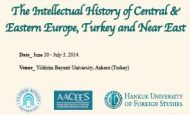 The Intellectual History of Central & Eastern Europe, Turkey and Near East